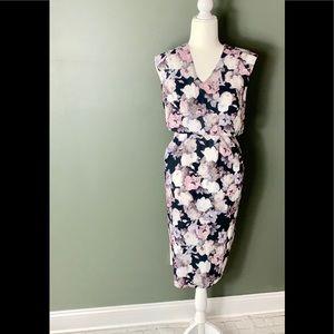 ASOS Floral V-Neck Fitted Dress Size 2